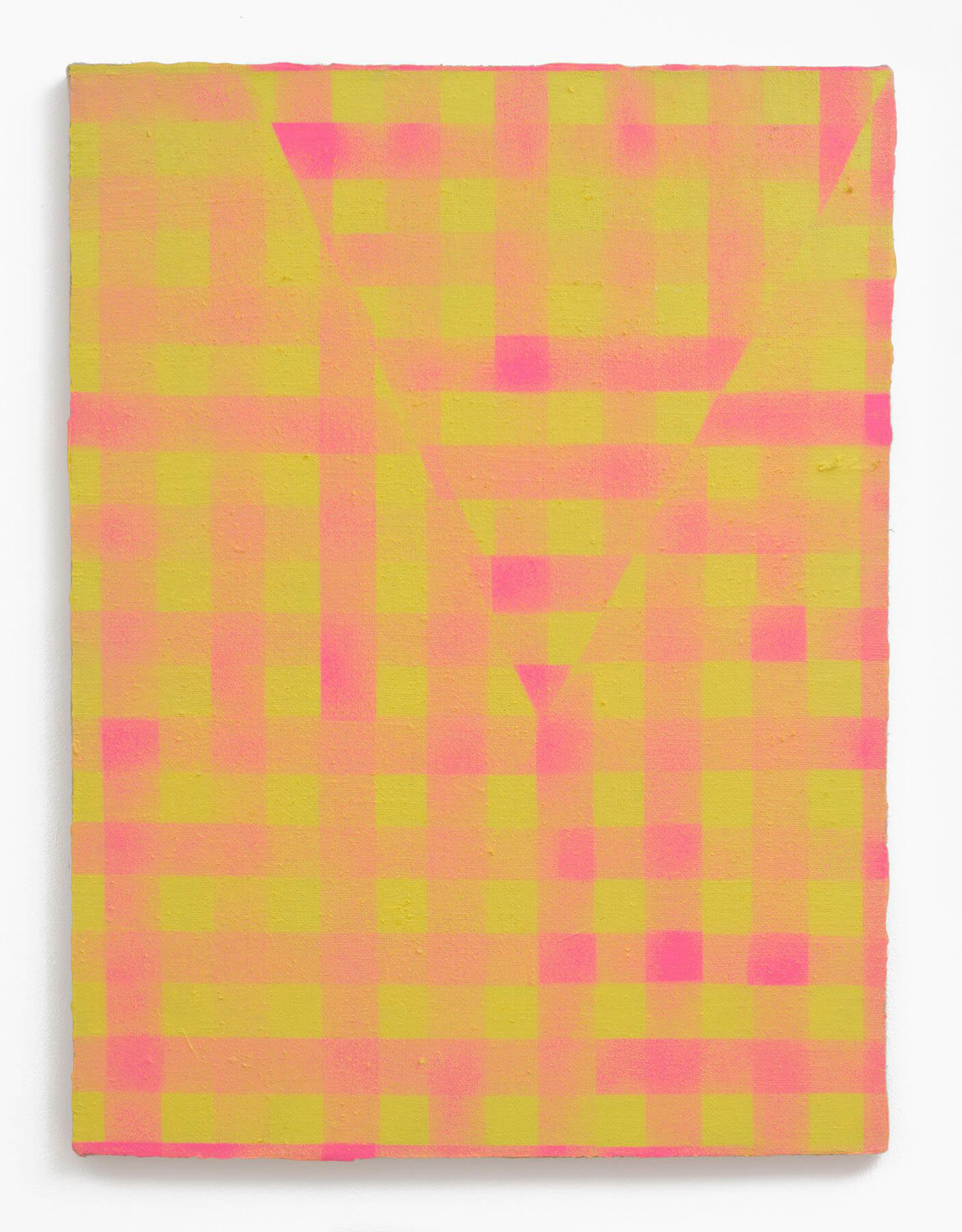 Cheryl Donegan                                             'Untitled (yellow and hot pink)', 2013                                             40 x 30 Inches                                             acrylic on jute